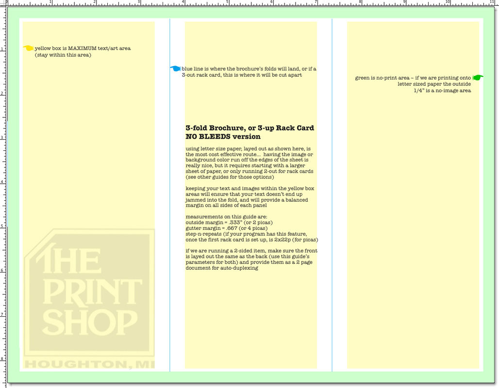 Guides The Print Shops Showcase - 3 panel brochure template